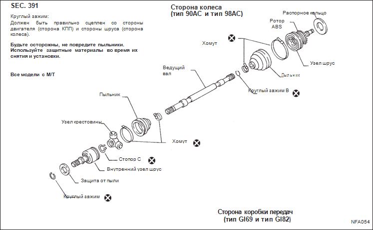 Схема ведущего вала для